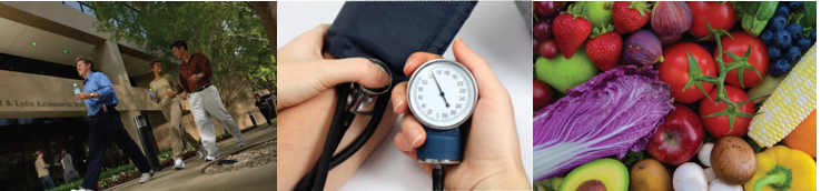 people walking - blood pressure cuff - fruits and vegetables